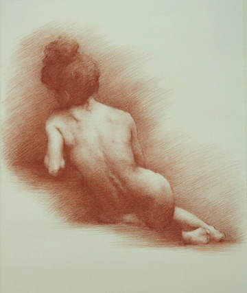 red chalk drawing of the back of a seated female nude
