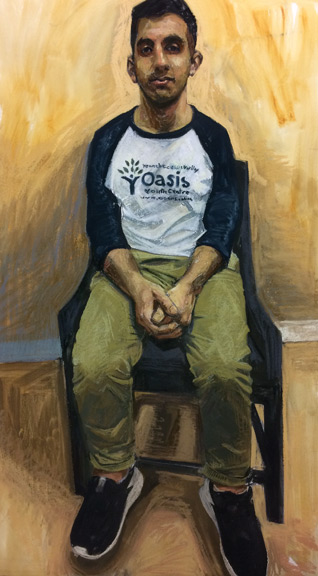 Painted portrait of a young man sitting in a chair