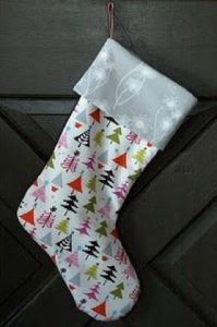 Christmas stocking made of patterned fabric